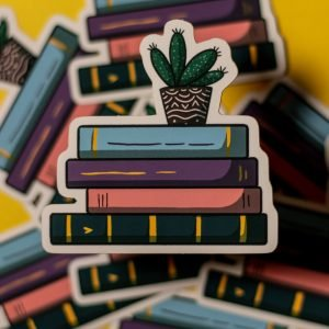 pile of pastel stack of books stickers