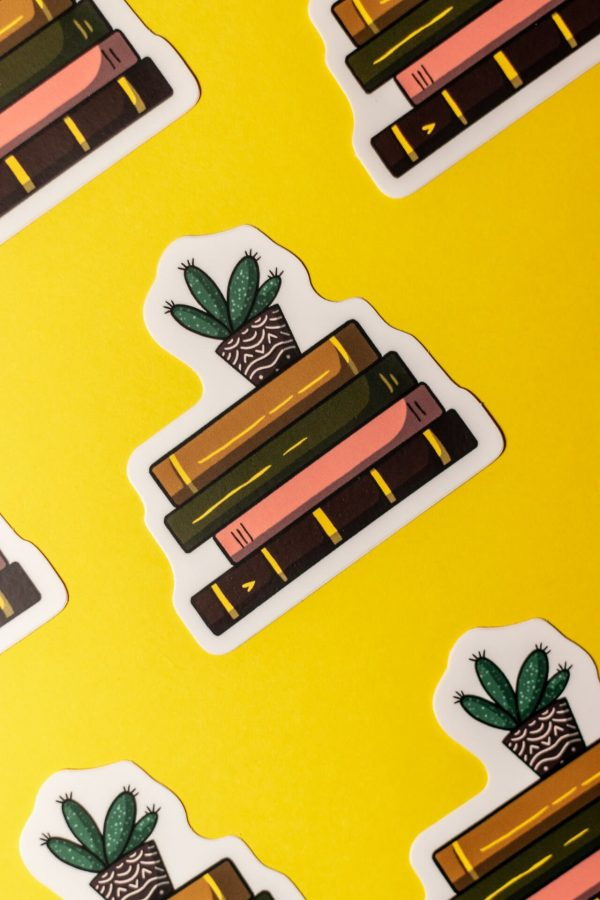 dark stack of books stickers pattern on yellow