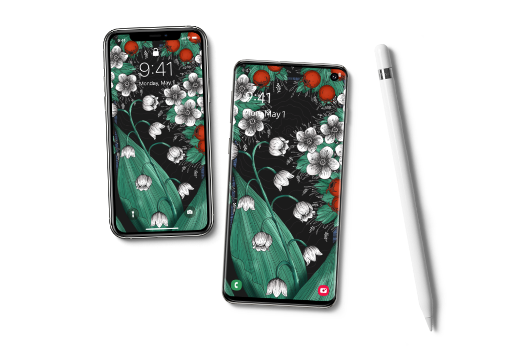 two phones with wallpaper